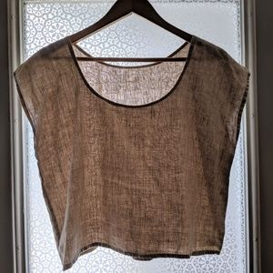 Boxy Cropped Linen Tee